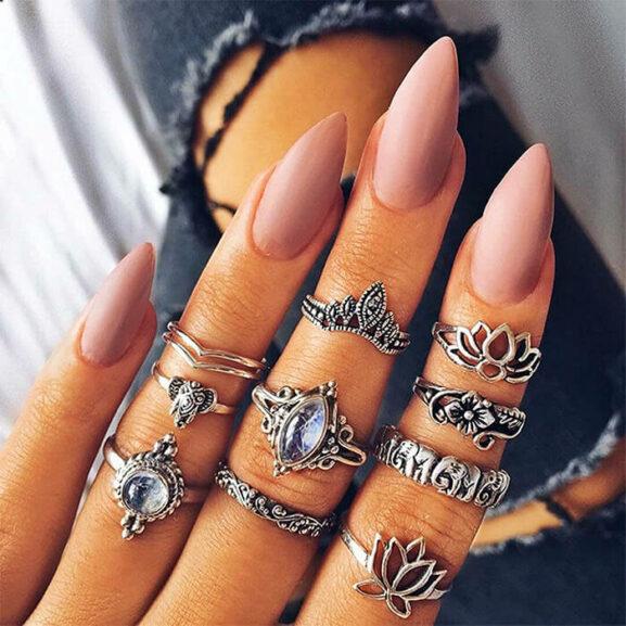 Сребристи пръстени Лотос