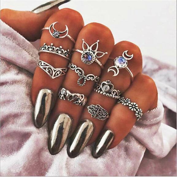 Сребристи пръстени Винтидж